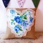 Bright blue floral heart cu..
