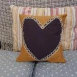 Navy Blue Heart Cushion Wi..