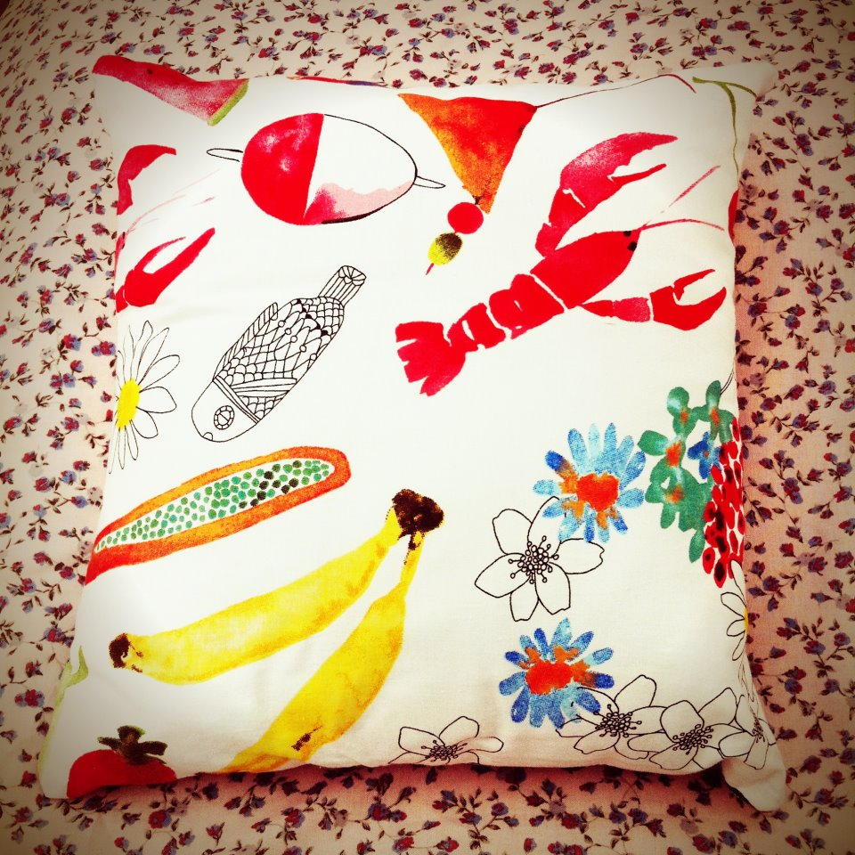 Watercolour print colourful cotton cushion.