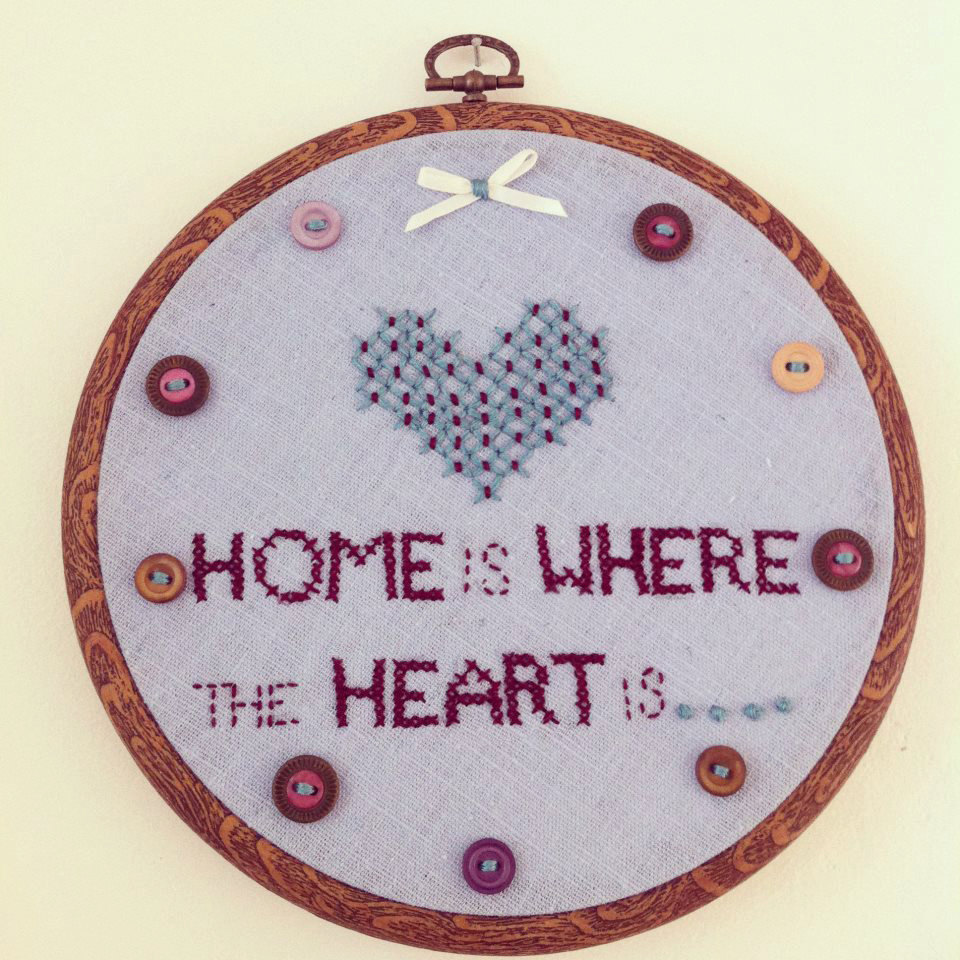 embroidery hoop, hand stitched, home is where the heart is wall hanging.