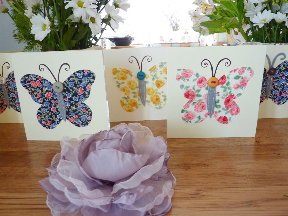 Set of 3 hand stitched butterfly greeting cards