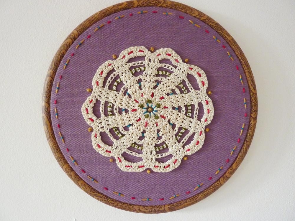 Vintage doily hand stitched embroidery hoop art wall
