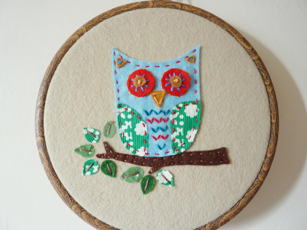 Hand Stitched Embroidery Hoop Owl Wall Hanging On Luulla