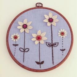 Flower garden embroidery wall hanging, hand stitched embroidery hoop wall art.