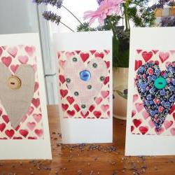 3 Hand stitched fabric heart greetings cards  