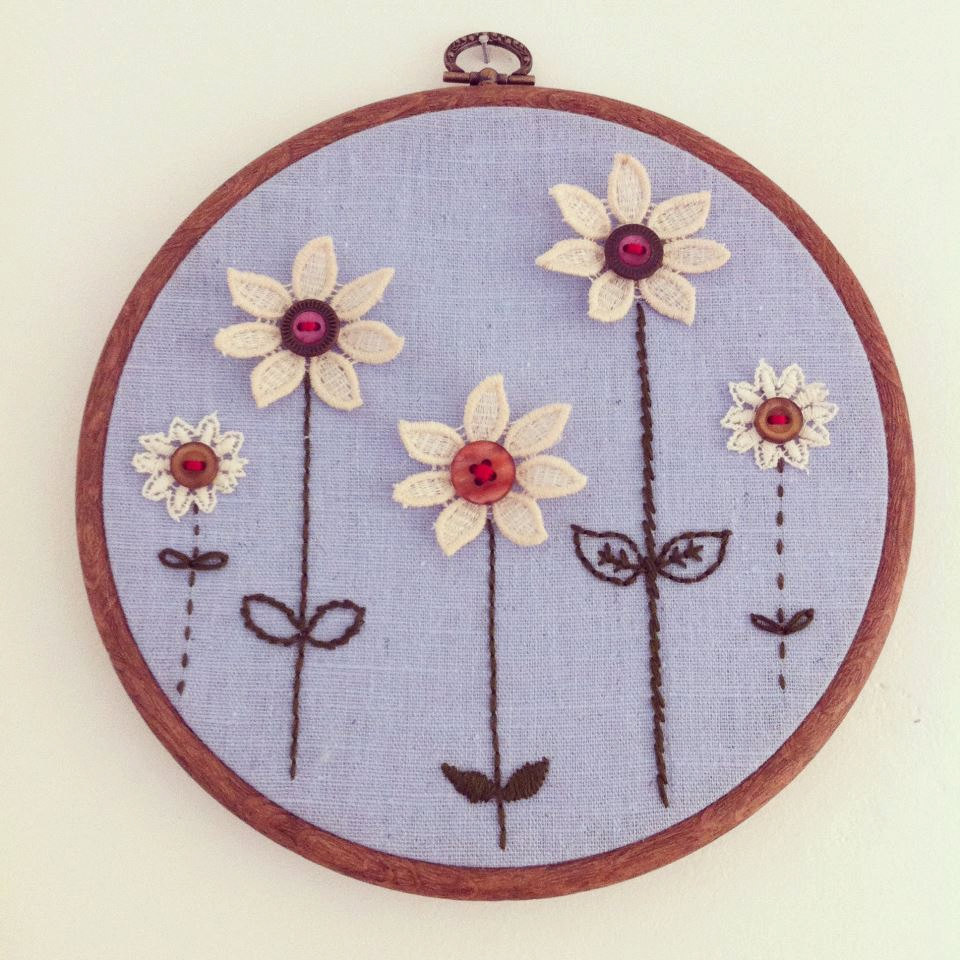 Hanging Wall Decor With Ribbon : Flower garden embroidery wall hanging hand stitched